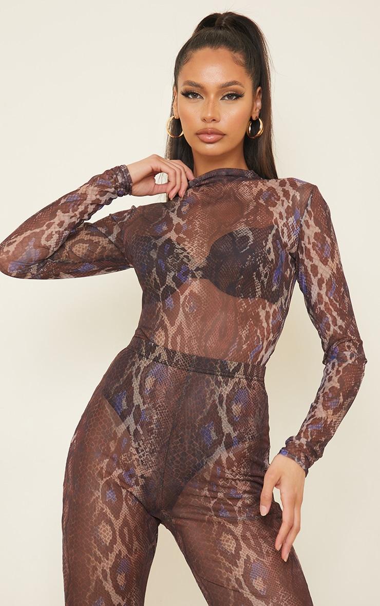 Purple Snakeskin Printed Sheer Mesh High Neck Long Sleeve Bodysuit 1