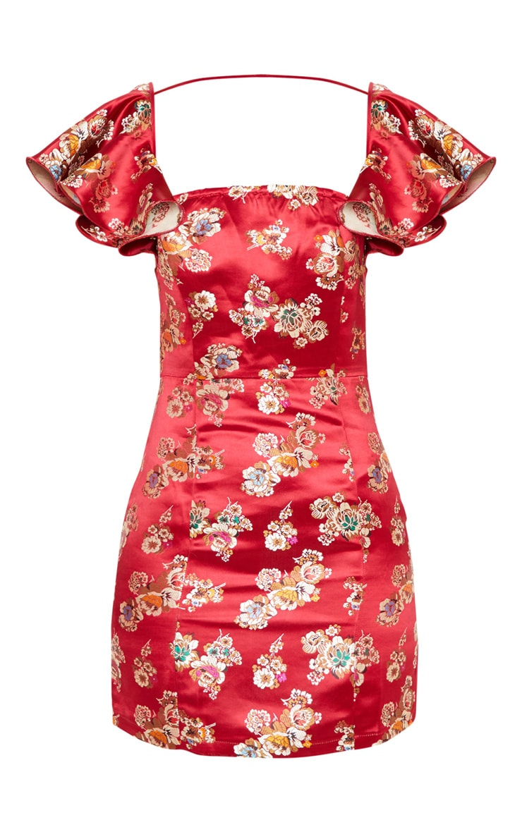 Red Jacquard Frill Sleeve Square Neck Bodycon Dress 3