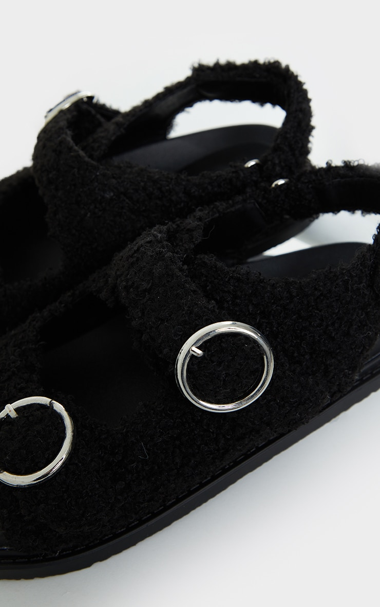 Black Faux Shearling Buckle Sandals 4