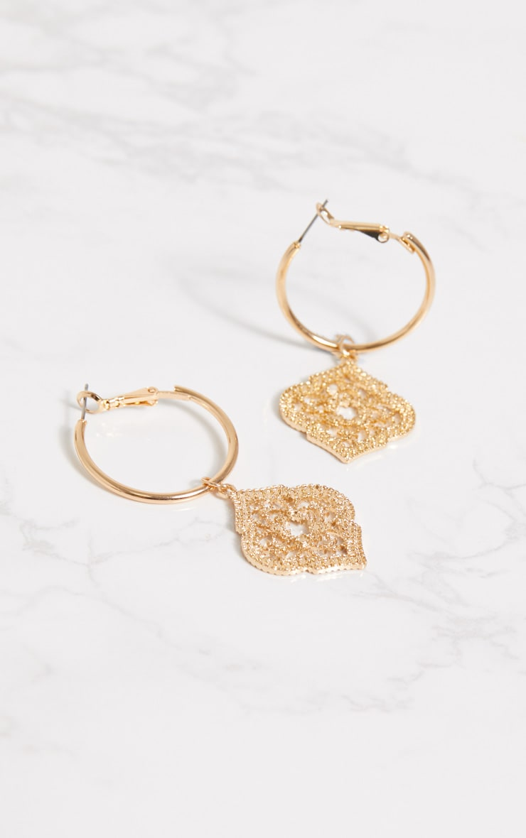 Gold Ornate Pendant Hoop Earrings 3
