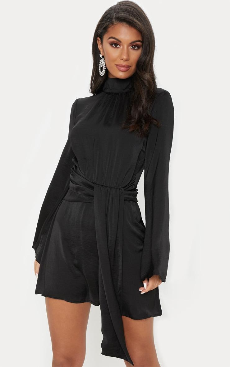 Black Hammered Satin High Neck Drape Bodycon Dress 1