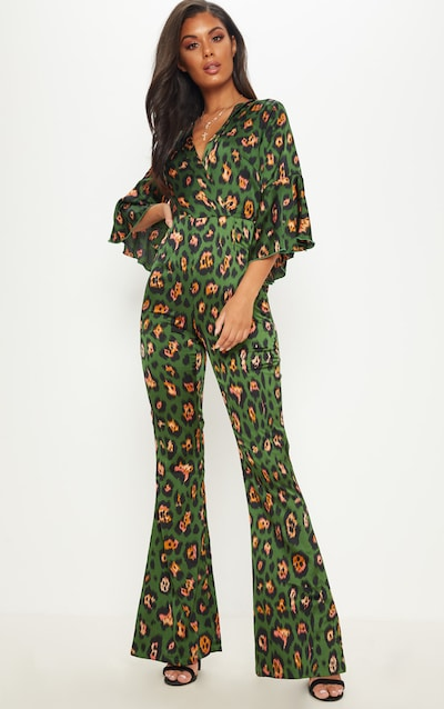 6516cd046204 Green Leopard Print Flared Sleeve Jumpsuit