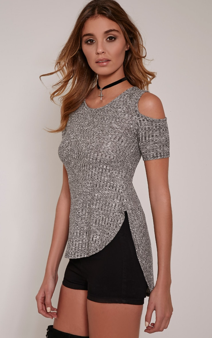 Eugene Grey Ribbed Cold Shoulder Drop Hem Top 1