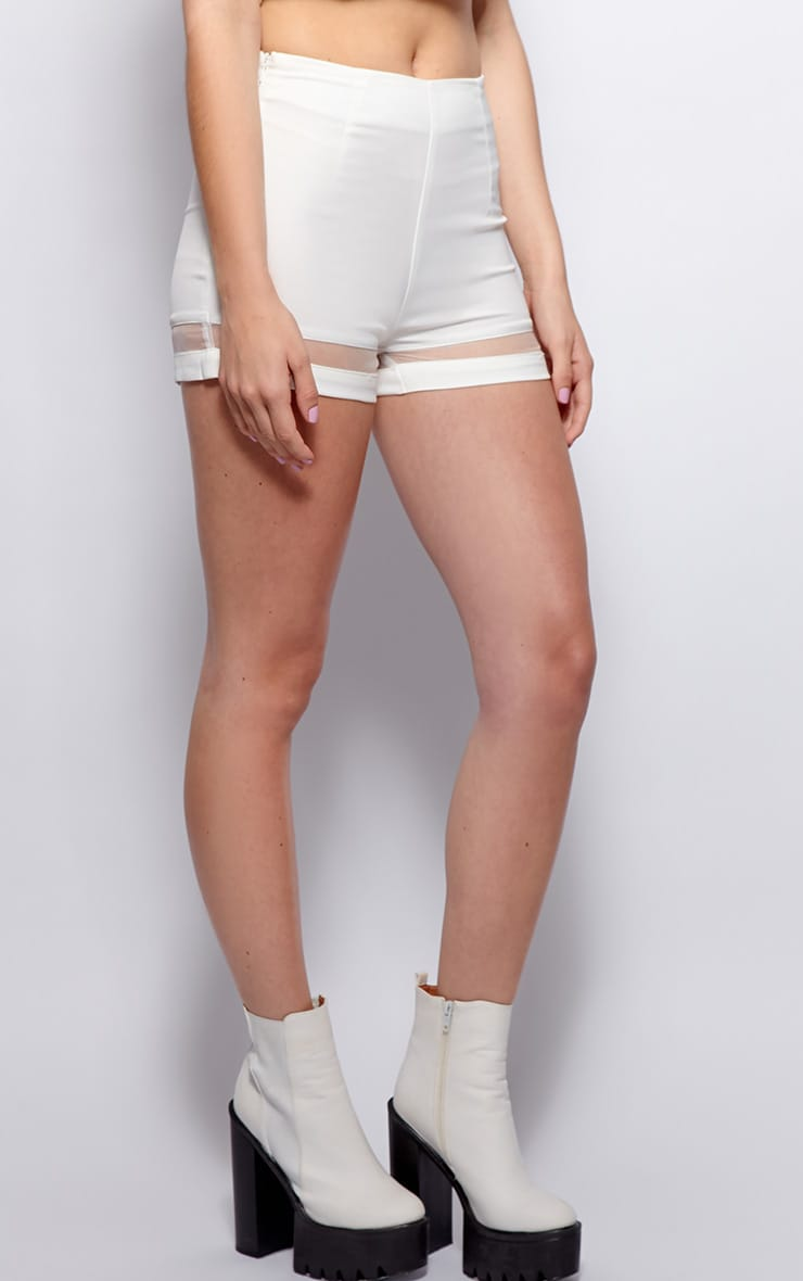 Ashley White Mesh Insert Chiffon Shorts 3