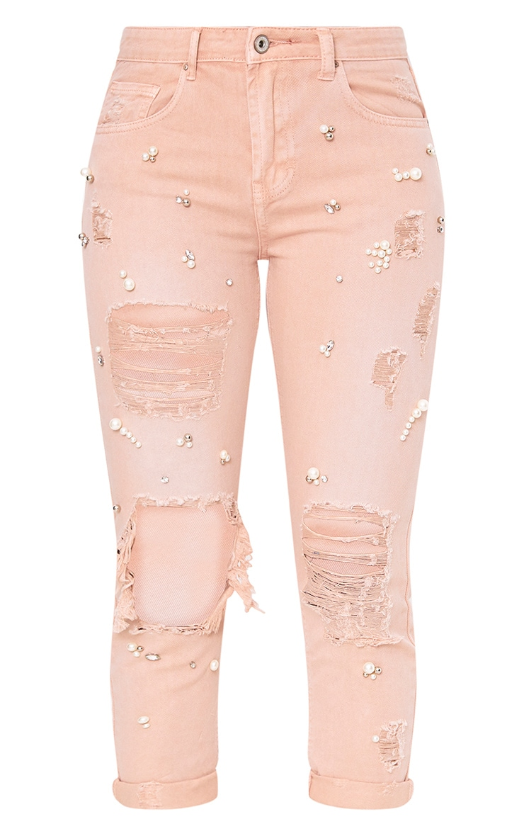 Pink Embellished Mom Jean 3