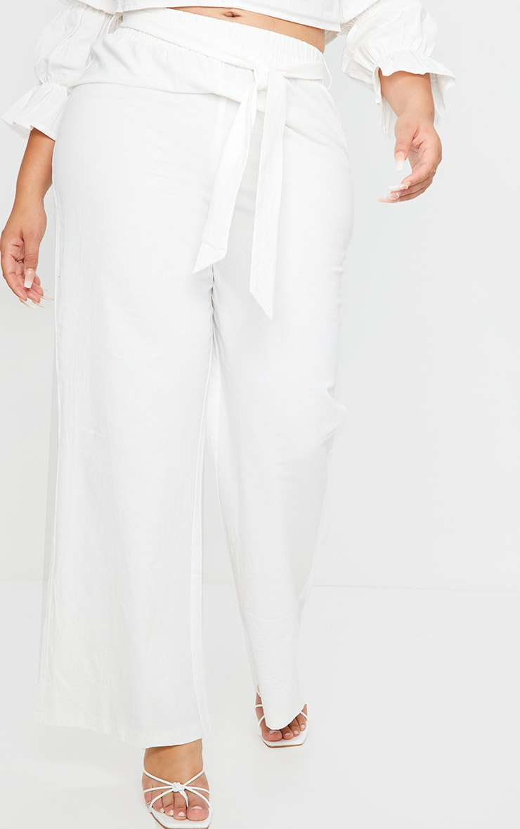 Plus White Woven Wide Leg Fit Pants 2