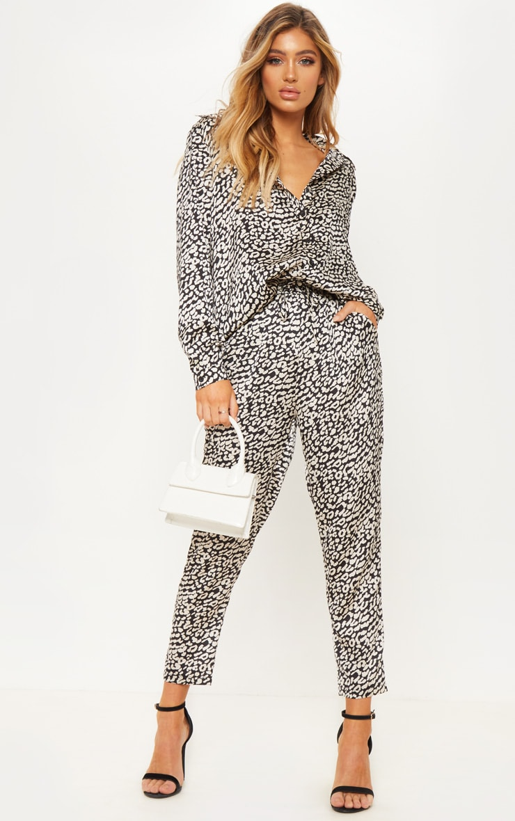 Black Leopard Abstract Print Wide Leg Trouser