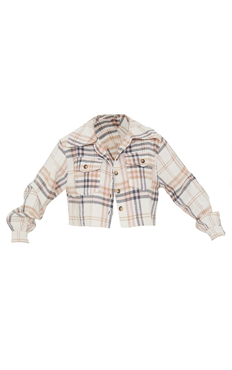 Pink Checked Cropped Shacket 5