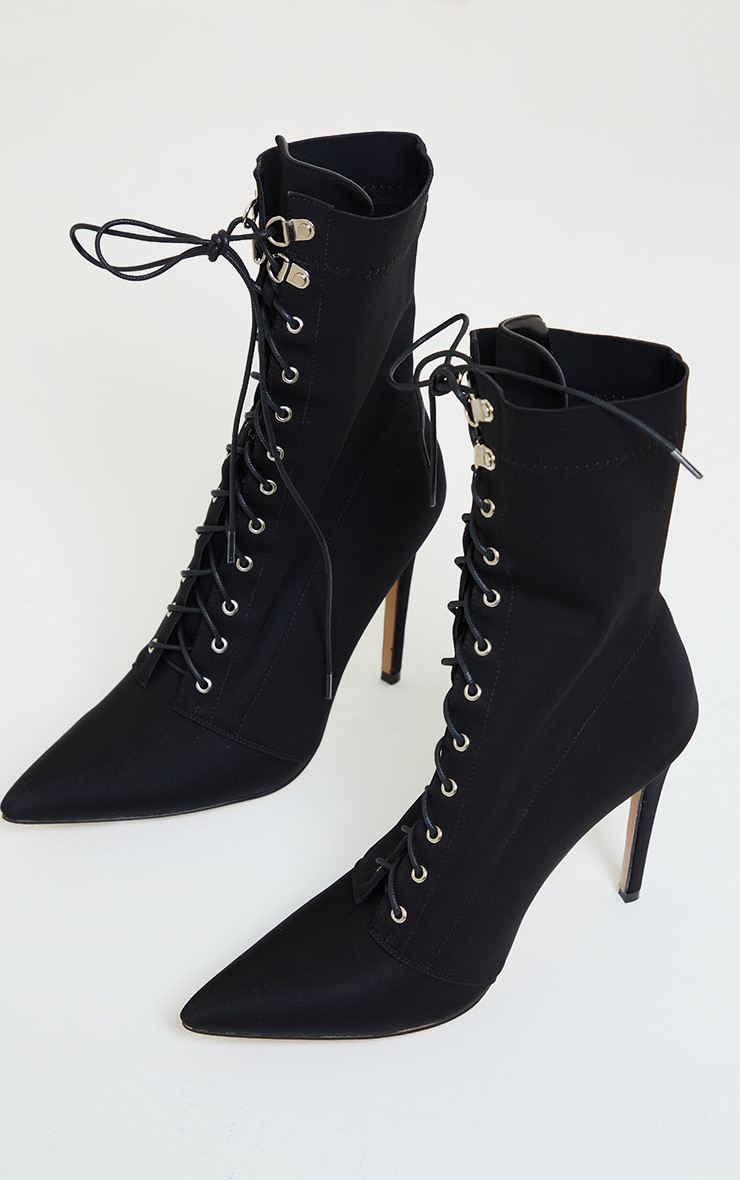 Black Lycra Lace Up Pointed Toe Sock Boots 3