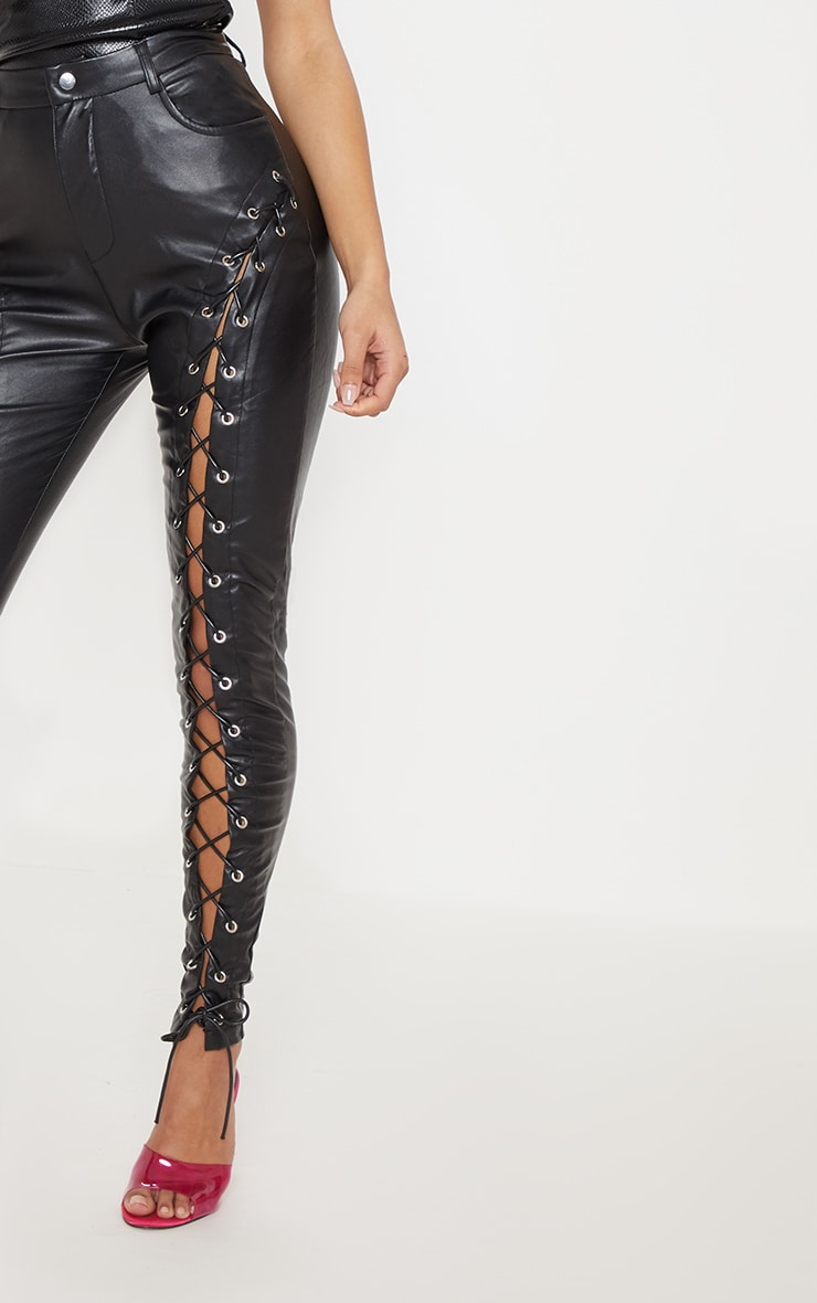 Black Faux Leather Extreme Curve Lace Up Skinny Pants 5