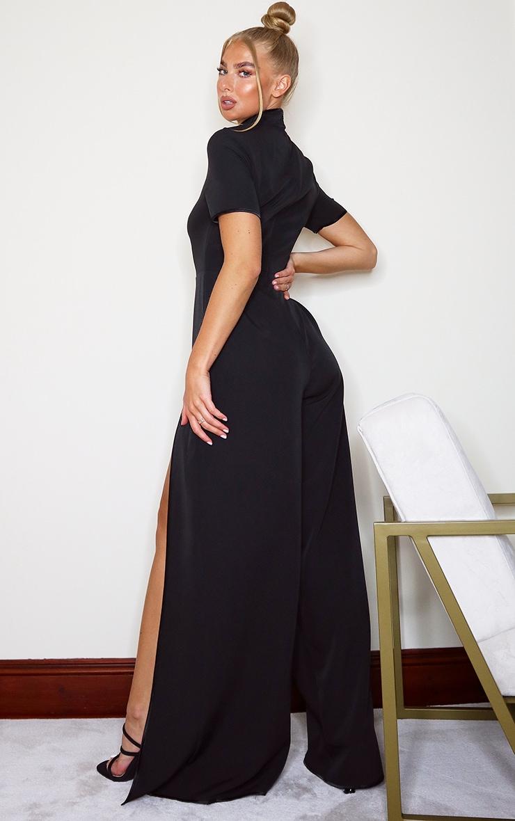 Black Thigh Split Jumpsuit 2