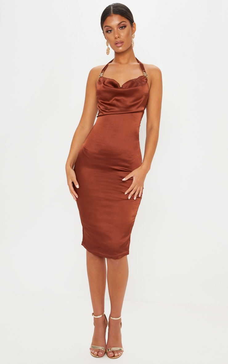 Chocolate Lion Buckle Cowl Neck Satin Midi Dress