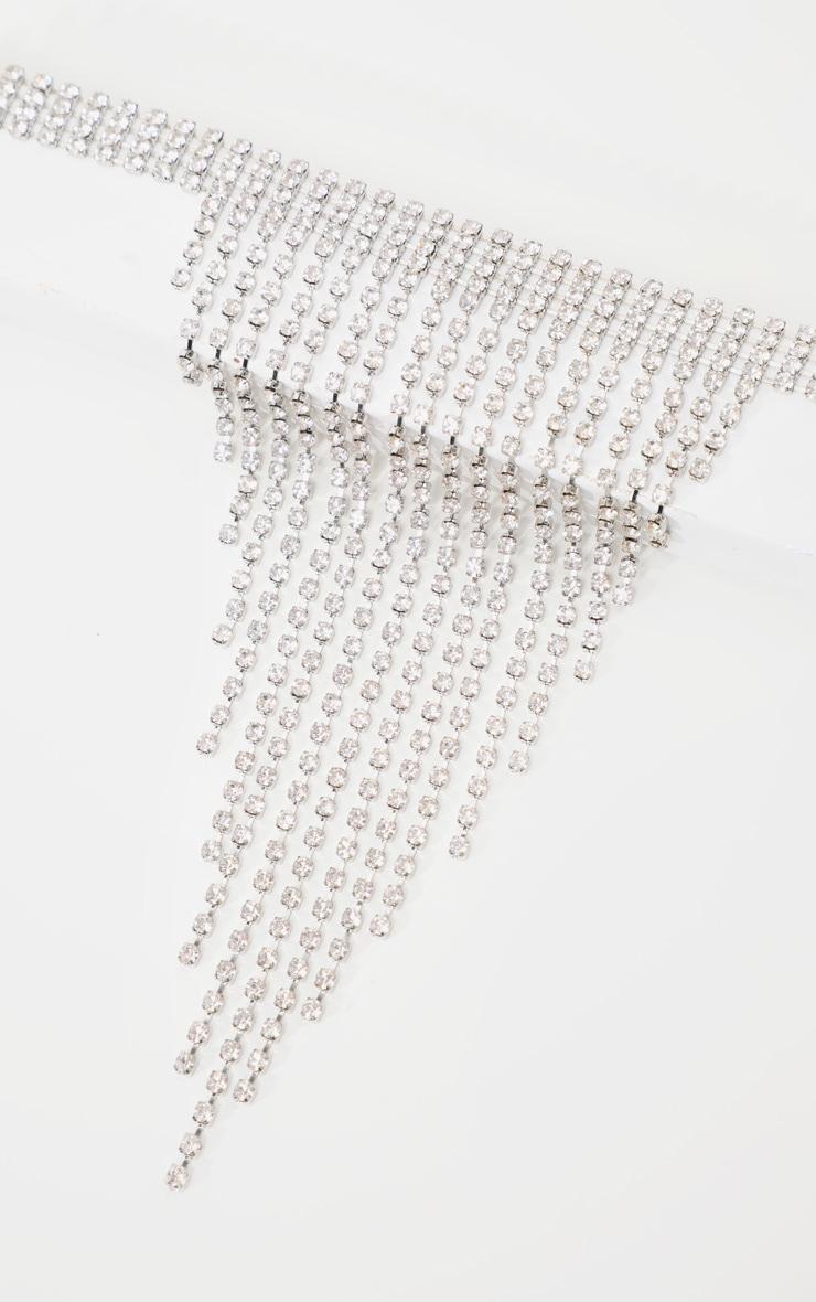 Silver Diamante Tassel Drop Thick Choker 5