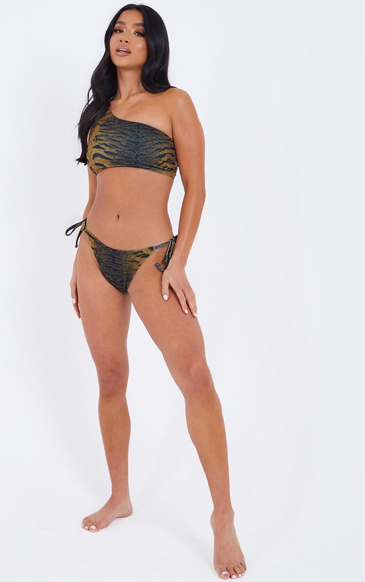 Petite Brown Textured High Rise Bikini Bottoms 3