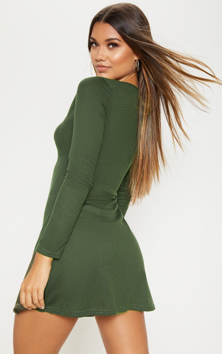 Khaki Ribbed Square Neck Long Sleeve Shift Dress 2