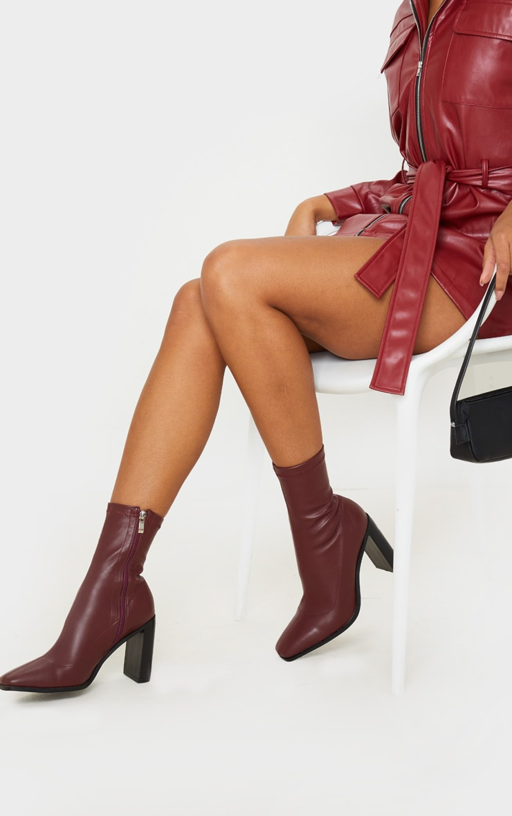 Burgundy Flat Heel Square Toe Sock Boot 1