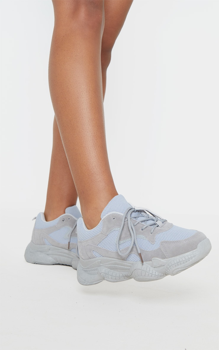 Grey Double Bubble Sole Lace Up Trainer 1
