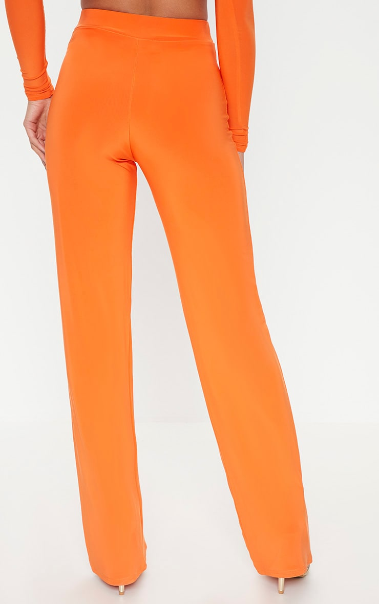 Petite Orange Slinky Wide Leg Trousers 4