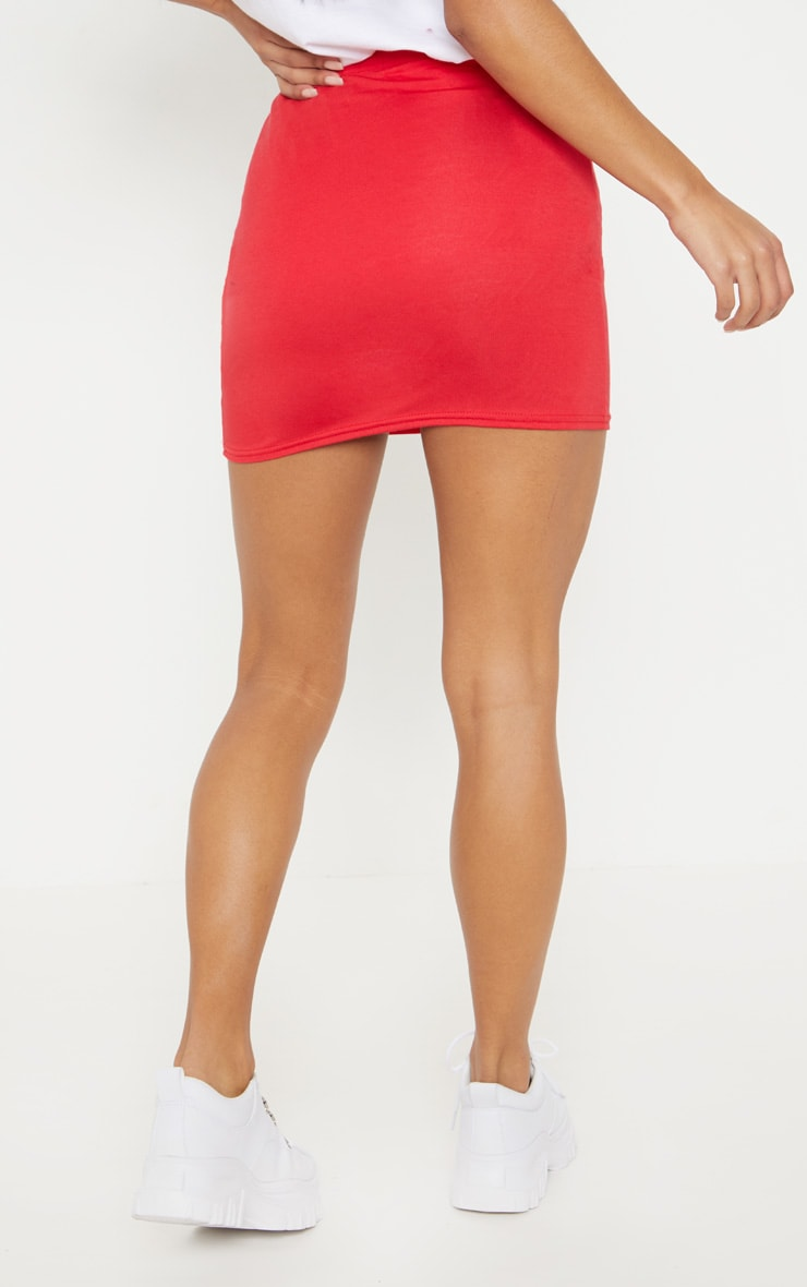 Basic Red Jersey Mini Skirt 4