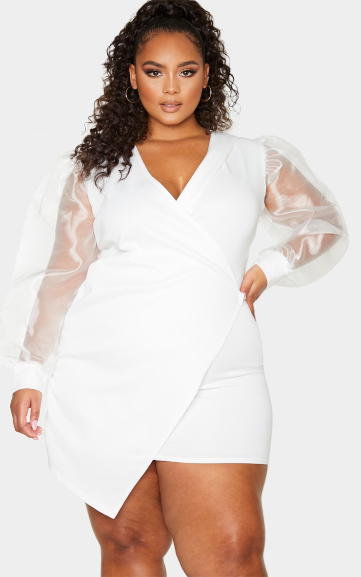 Plus White Organza Sleeve Wrap Dress 1