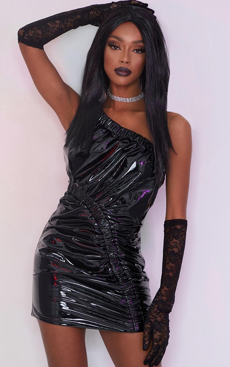 Black Vinyl One Shoulder Asymmetric Ruched Bodycon Dress 1