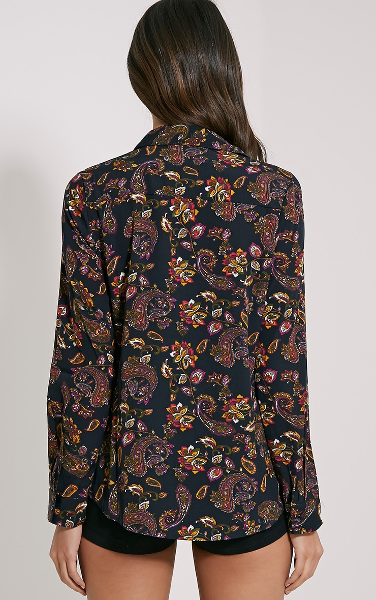 Haylie Black Paisley Shirt 2