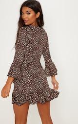 Chocolate Brown Polka Dot Leopard Print Frill Wrap Tea Dress 2