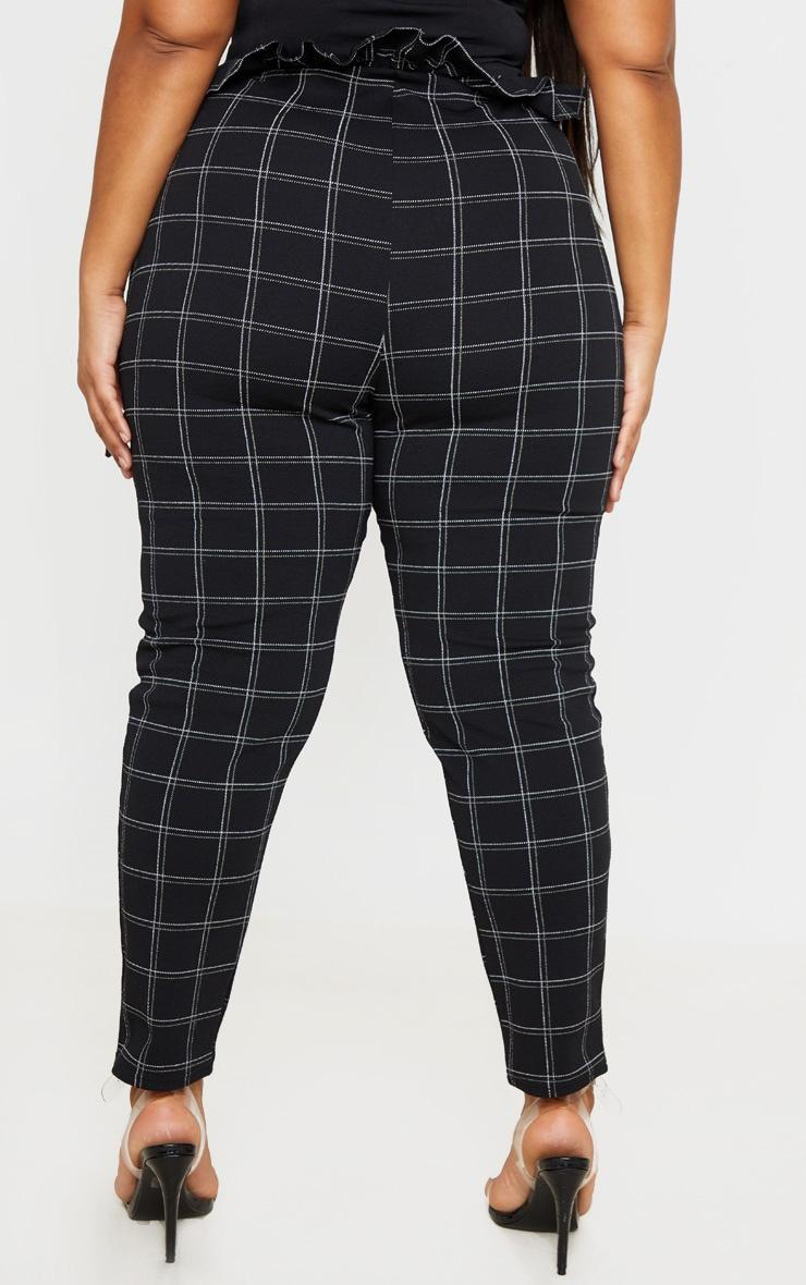 PLT Plus - Pantalon style paperbag skinny en tweed noir à carreaux 3