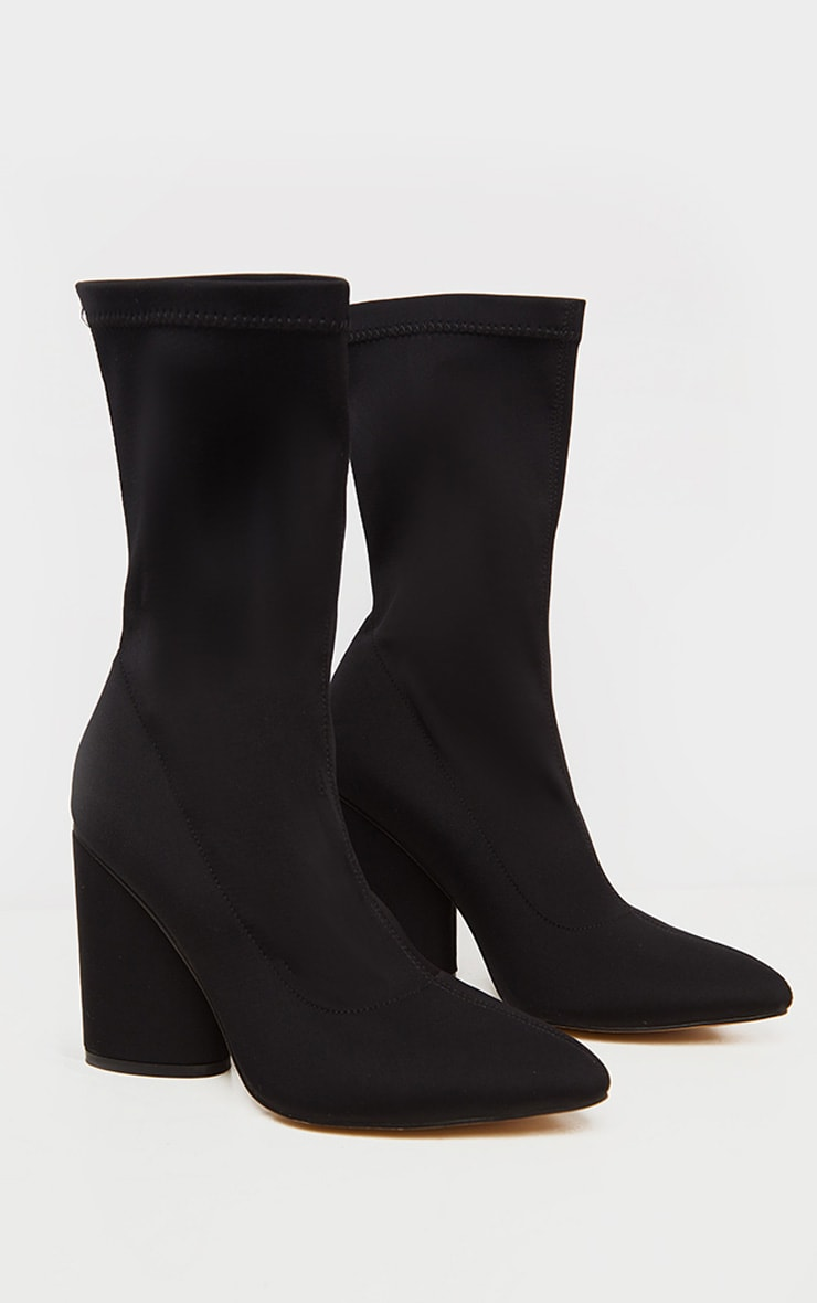 Black Chunky Block Heel Sock Boot 4