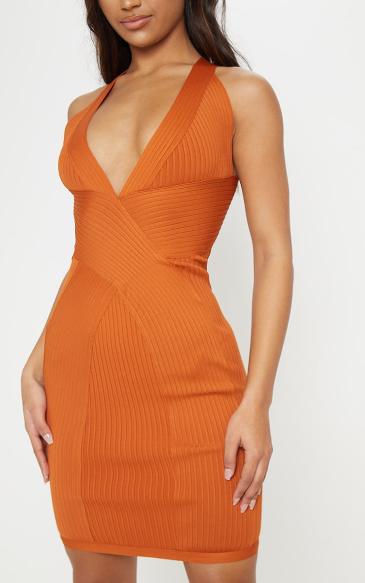Rust Plunge Bandage Midi Dress 5