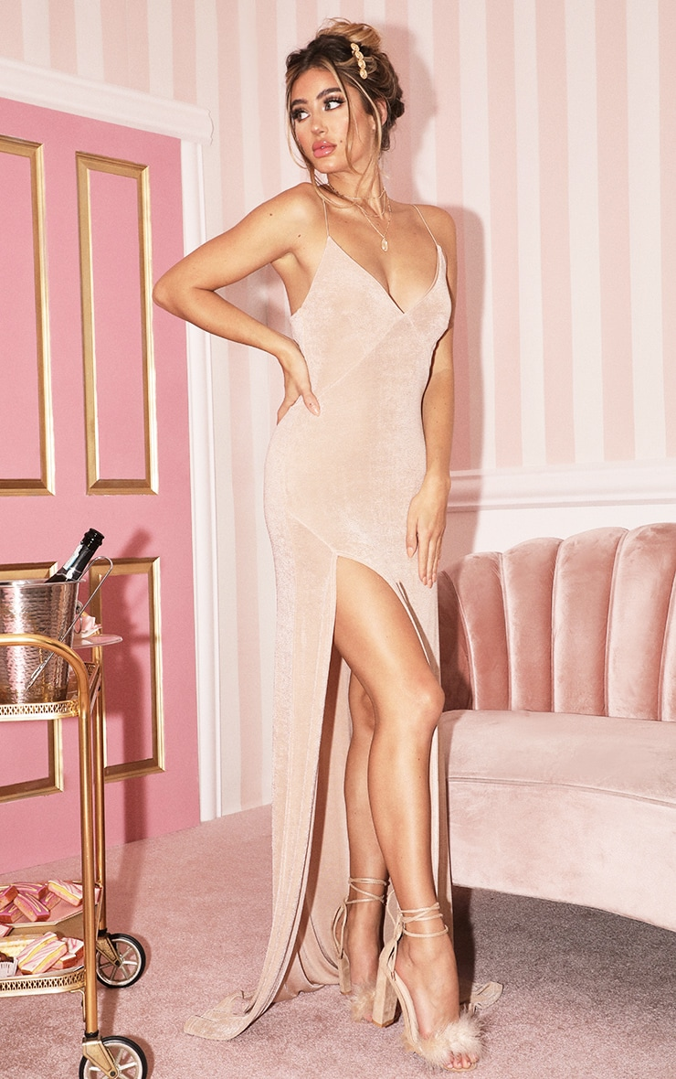Champagne Strappy Thigh Split Maxi Dress 4
