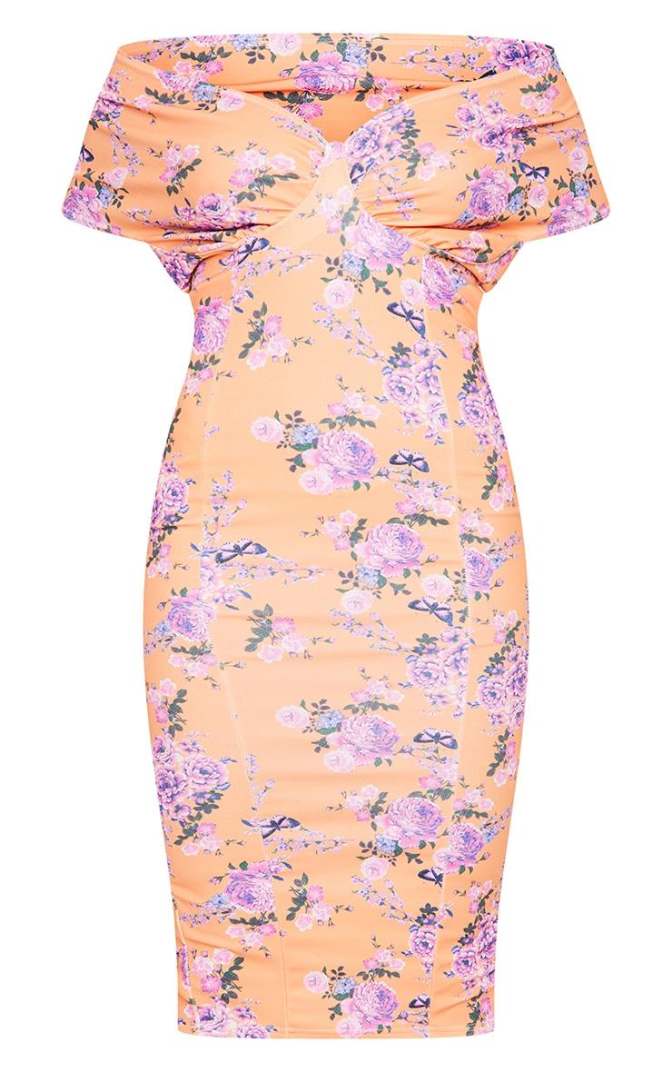 Peach Floral Bardot Drape Sleeve Midi Dress 5