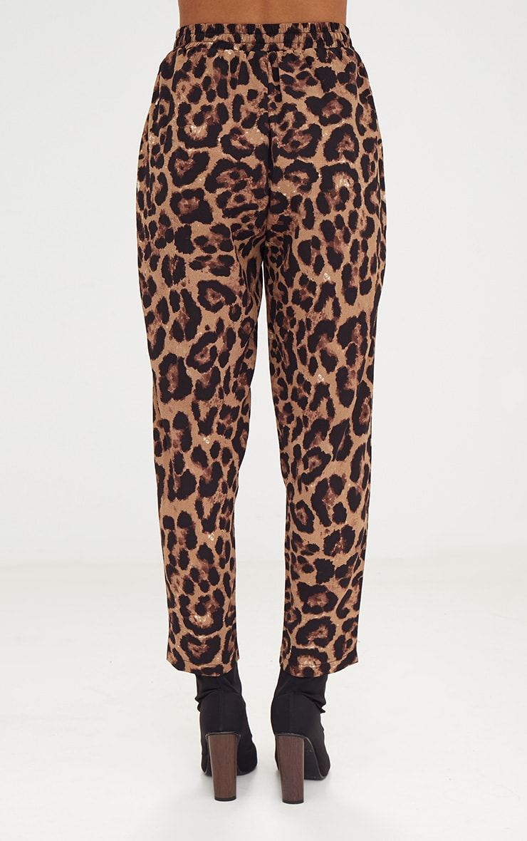Brown Leopard Print Casual Pants 4