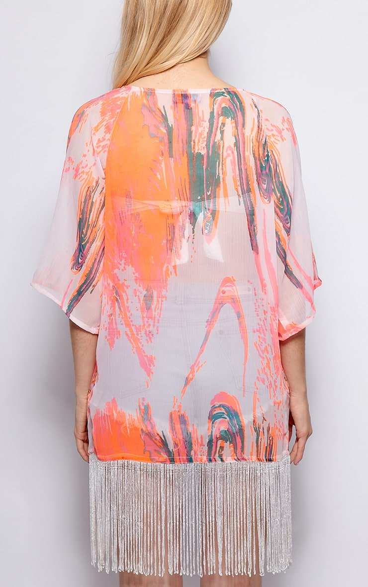 Danika Orange Fluro Splash Fringed Cover Up 2