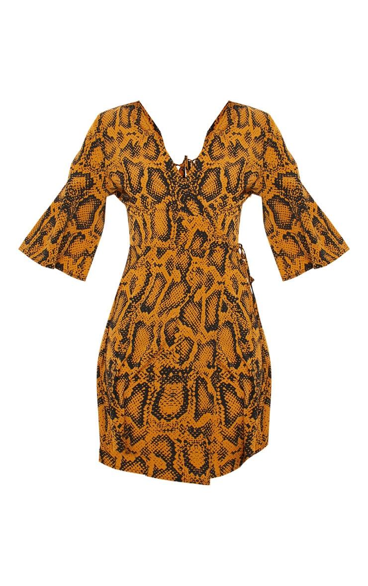 Mustard Snake Print V Neck Tea Dress  3