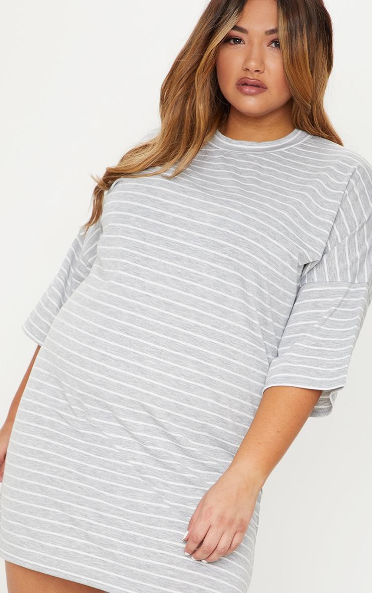 Plus Grey Striped Oversized T Shirt Dress 4