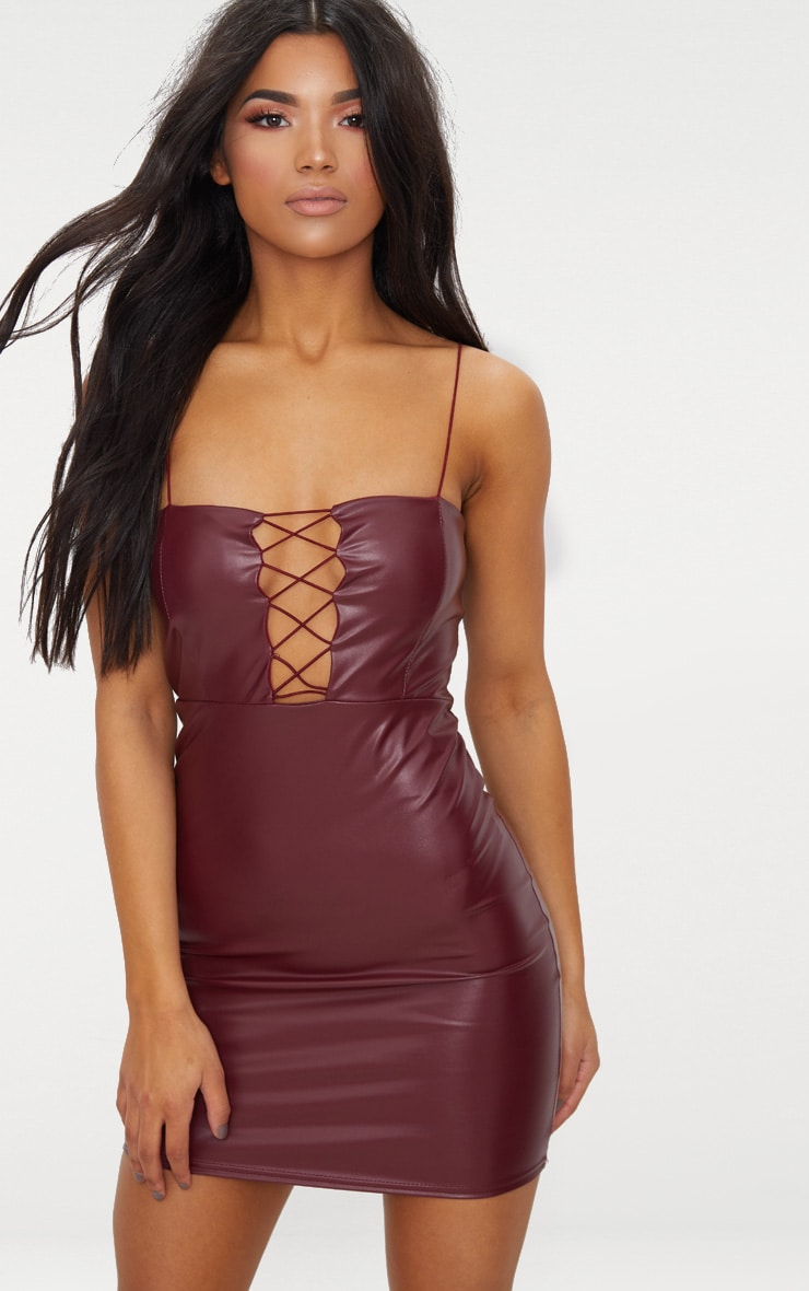 Maroon Strappy Lace Up PU Bodycon Dress 1