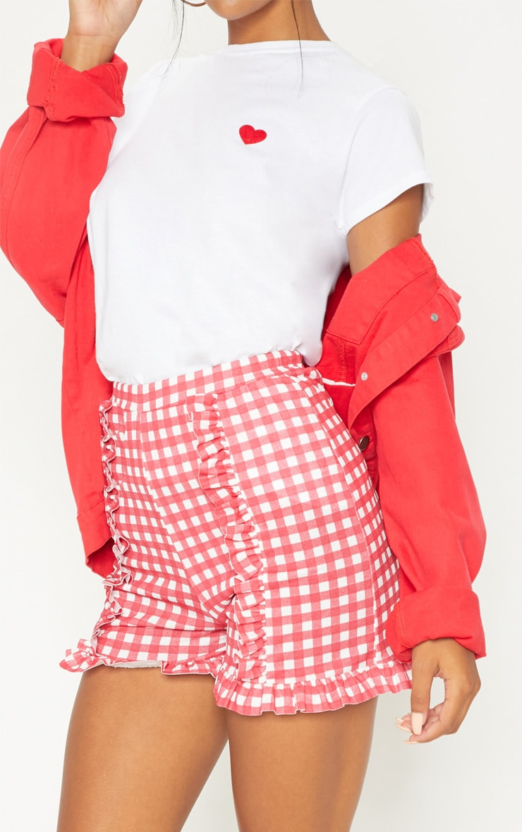 Red Gingham Check Frill Short  5