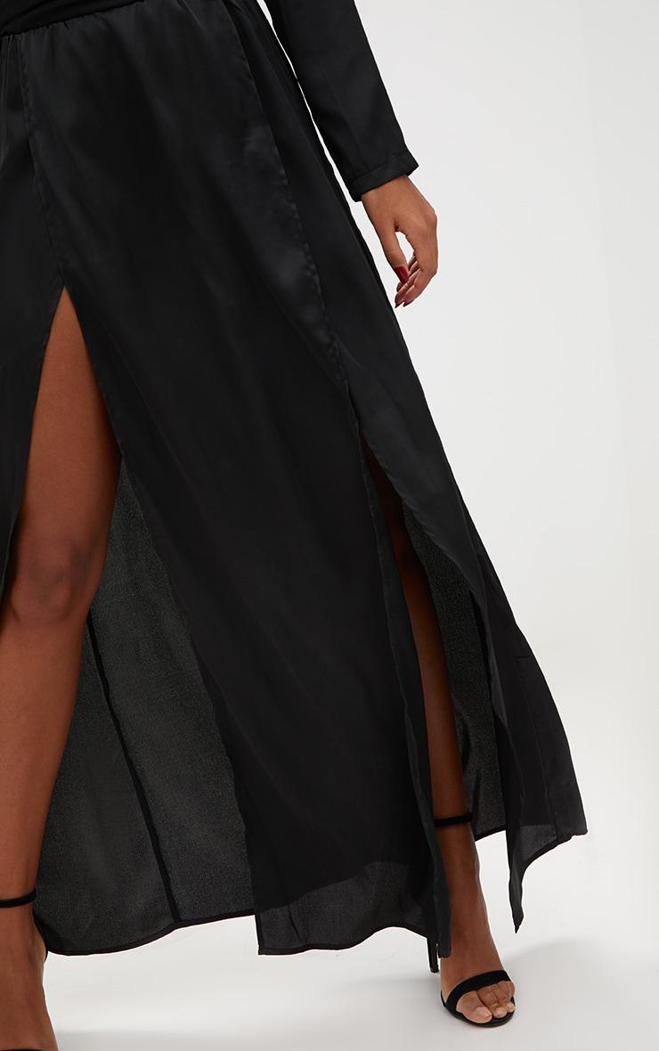 Black Long Sleeve Satin Belt Detail Maxi Dress 5