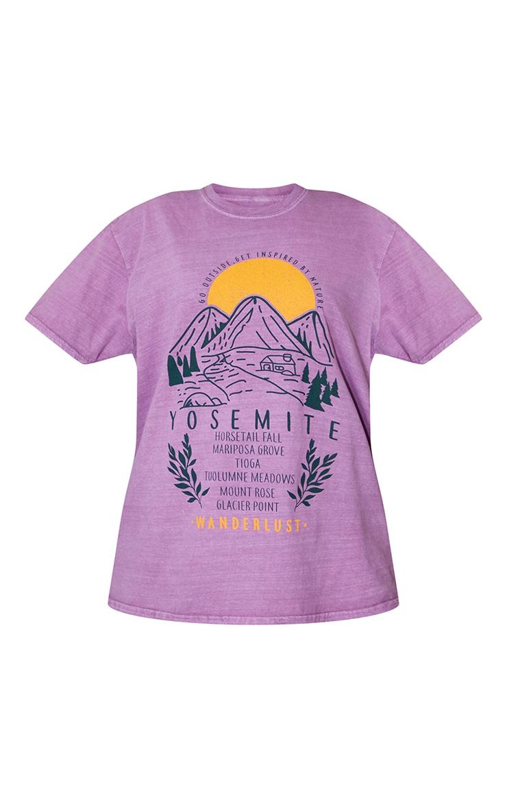 Mauve Wanderlust Back Printed Washed T Shirt 5