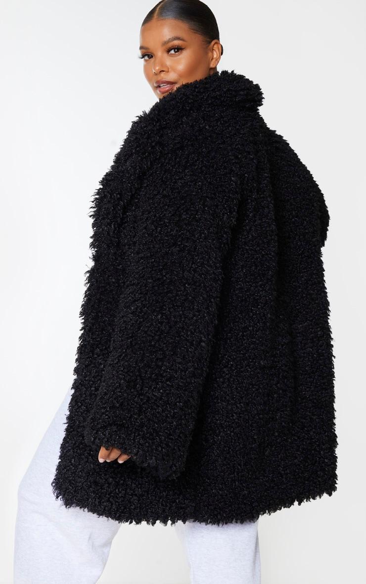 Plus Black Teddy Faux Fur Coat 2