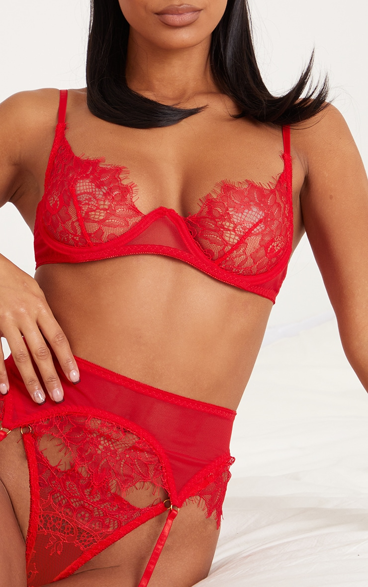 Red Underwired Delicate Lace Cup 3 Piece Lingerie Set 4