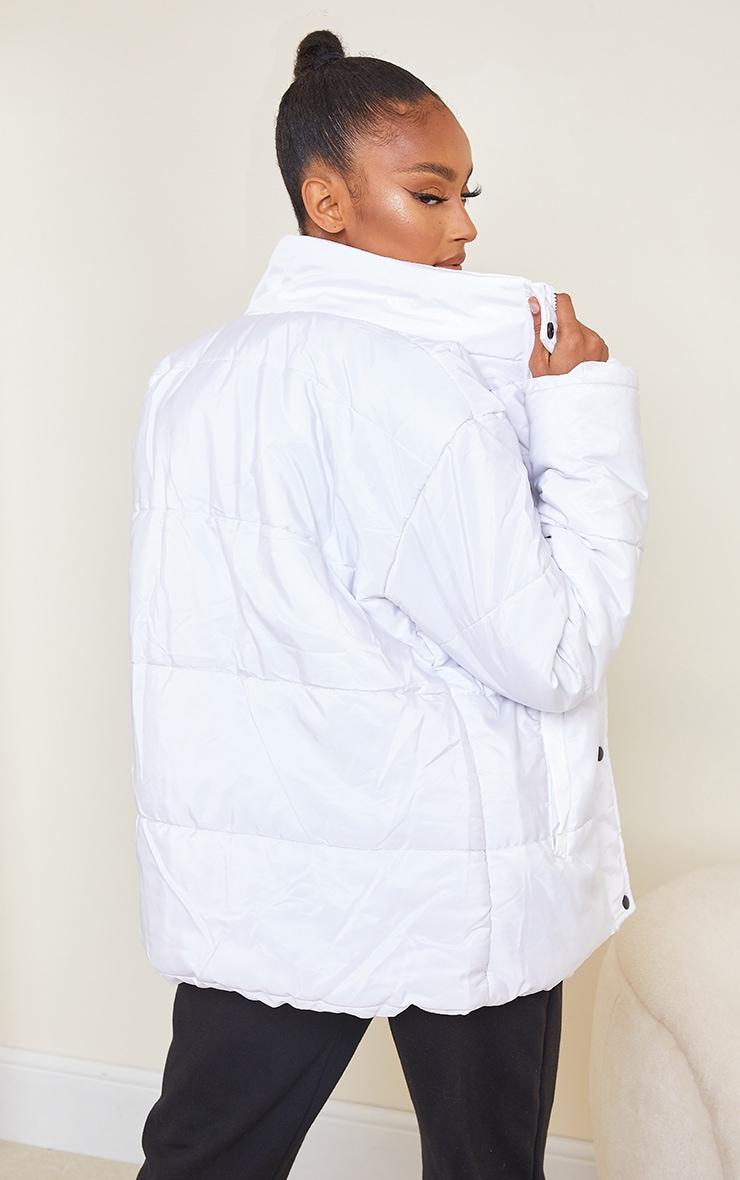 White Basic Panel Zip Up Puffer 2