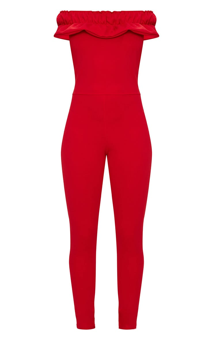 Red Crepe Frill Jumpsuit 3