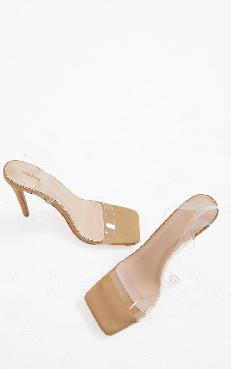 Nude Lycra Square Toe Clear Strappy High Heeled Sandals 3