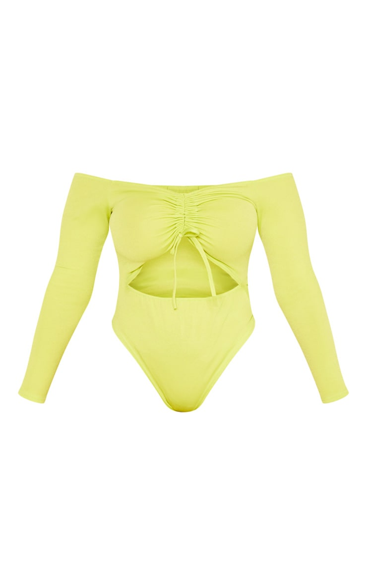 Shape Neon Lime Ruched Detail Bardot Bodysuit 3