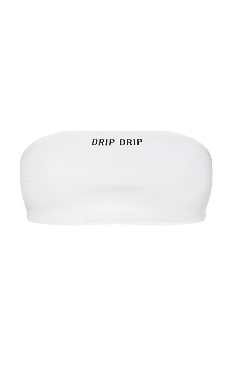 Haut de maillot de bain blanc à slogan Drip Drip 6