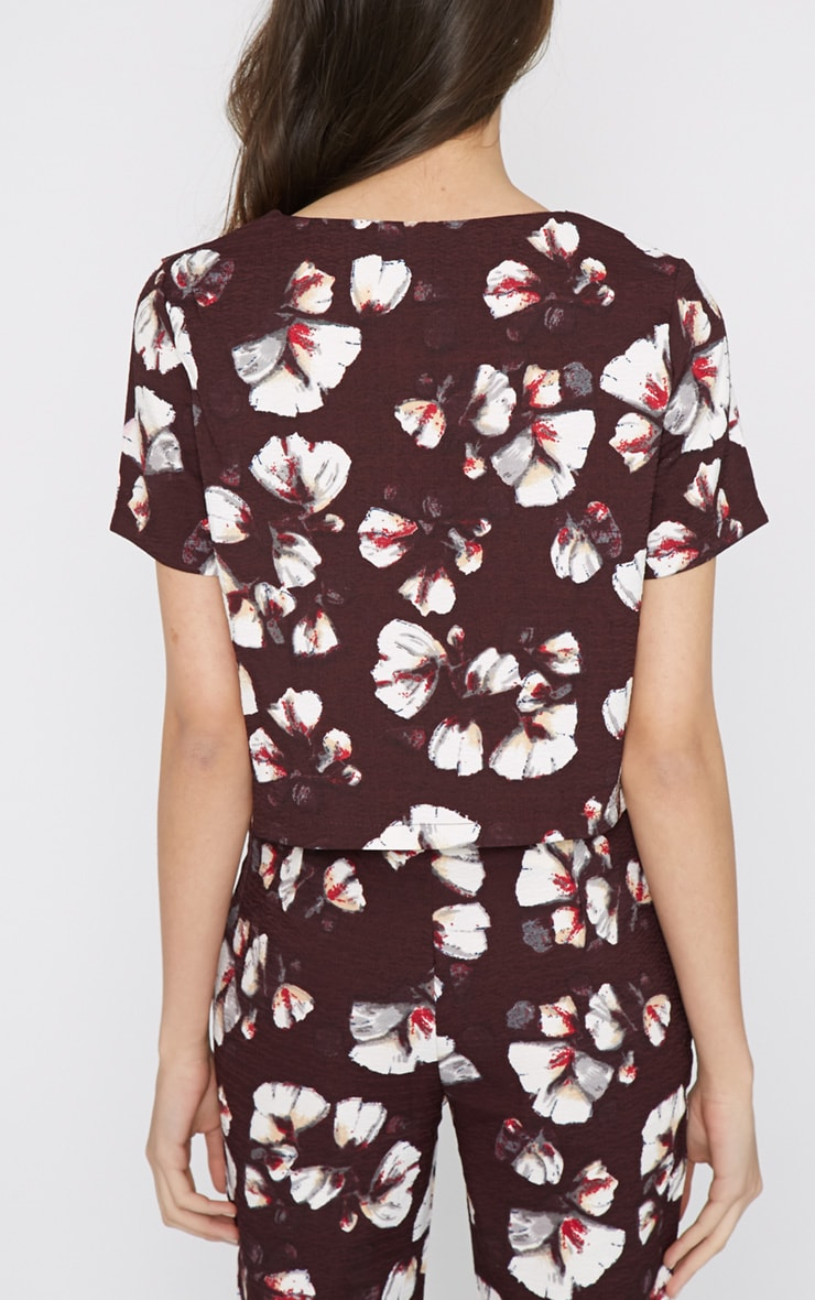Michela Burgundy Floral Print Crop Top   3