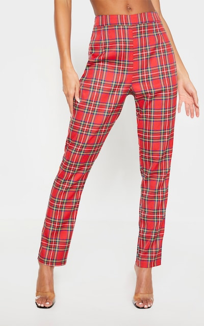 Red Tartan Printed Buckle Belted High Waisted Cigarette Trouser