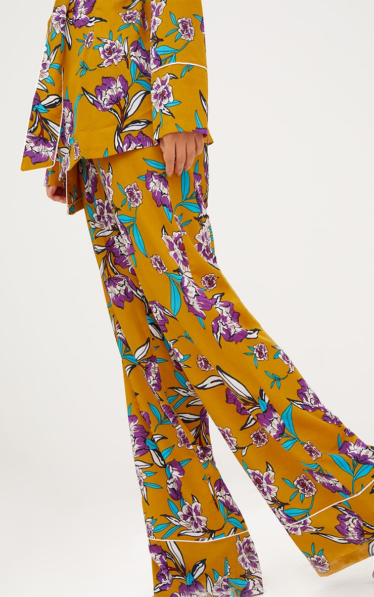 Mustard Contrast Piping Floral Wide Leg Trousers 5